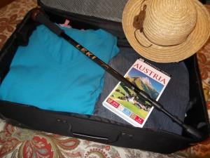 Leki in travel suitcase